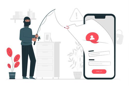 Maskierte Person mach Datendiebstahl